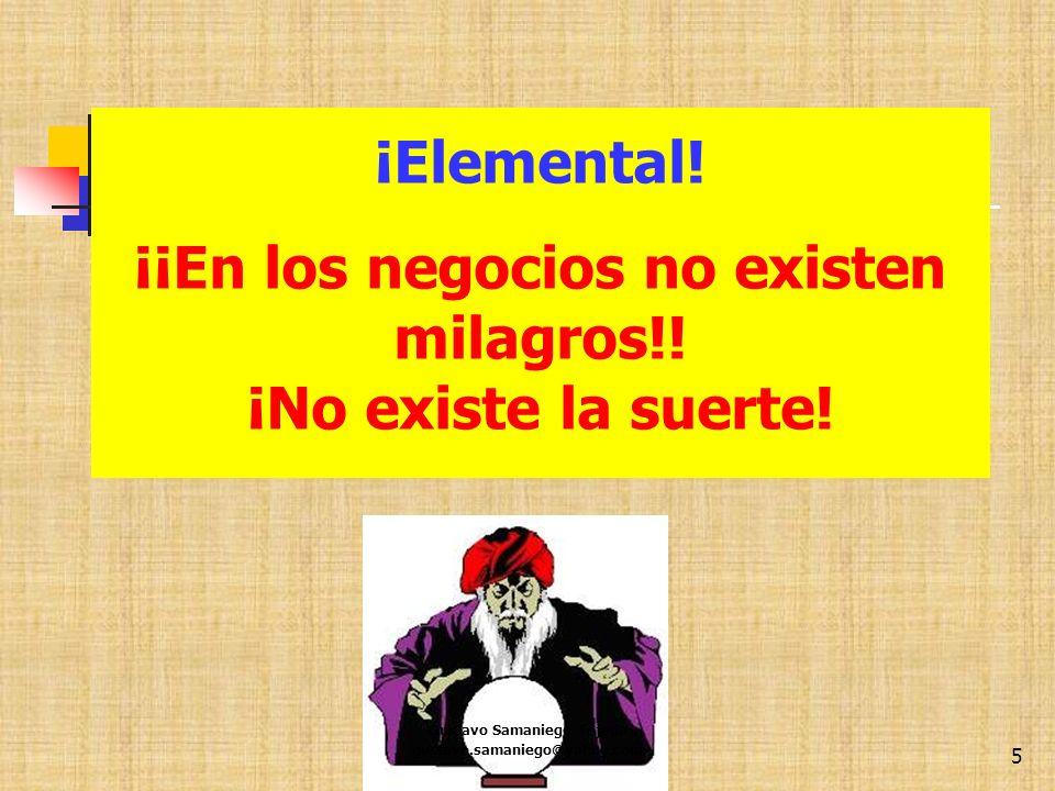 ¡Elemental! . ¡¡En los negocios no existen milagros!!
