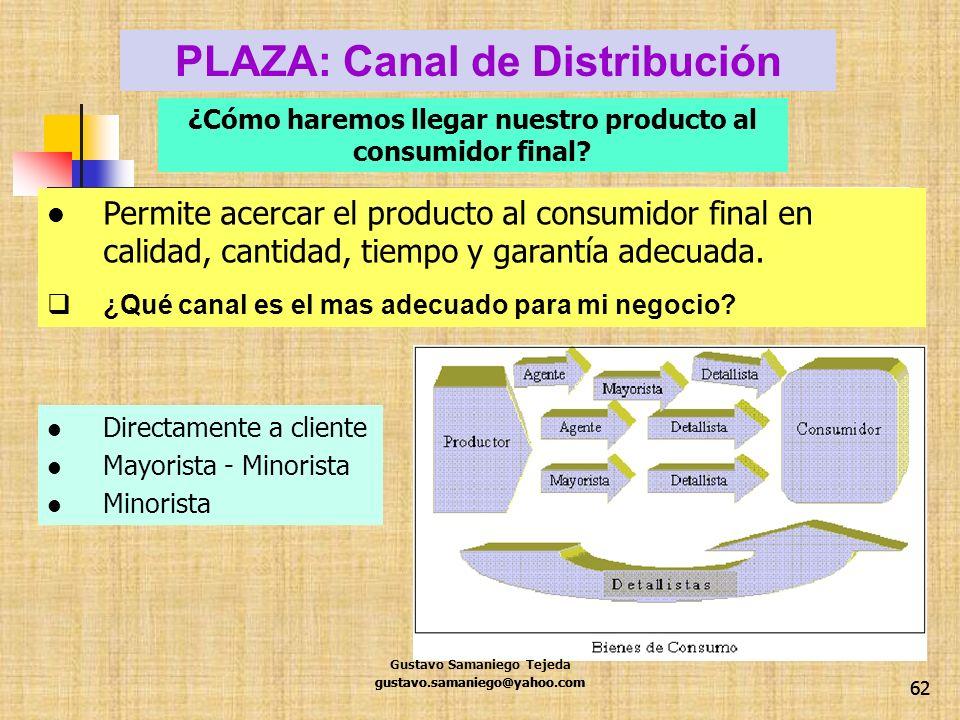 PLAZA: Canal de Distribución