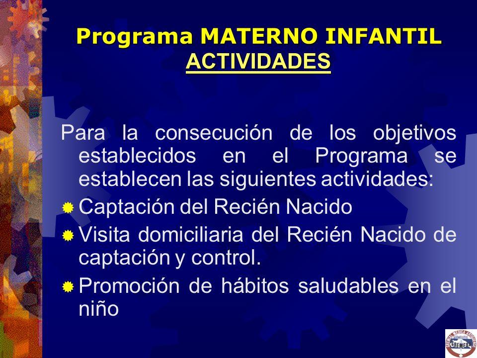 Programa MATERNO INFANTIL ACTIVIDADES