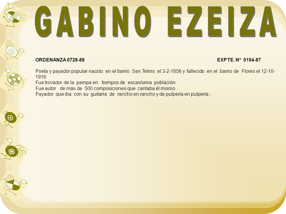 GABINO EZEIZA ORDENANZA 0728-88 EXPTE. Nº 0194-87