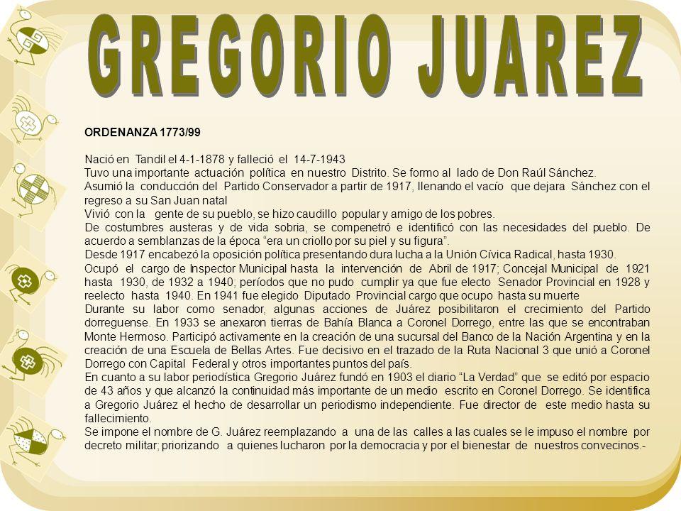 GREGORIO JUAREZ ORDENANZA 1773/99