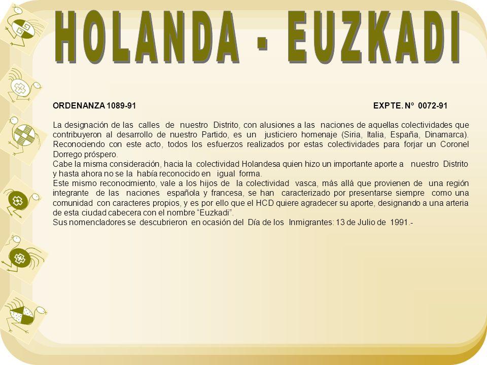 HOLANDA - EUZKADI ORDENANZA 1089-91 EXPTE. Nº 0072-91