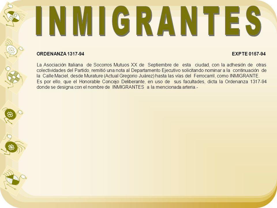 INMIGRANTES ORDENANZA 1317-94 EXPTE 0157-94