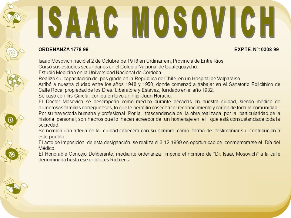 ISAAC MOSOVICH ORDENANZA 1778-99 EXPTE. Nº: 0308-99