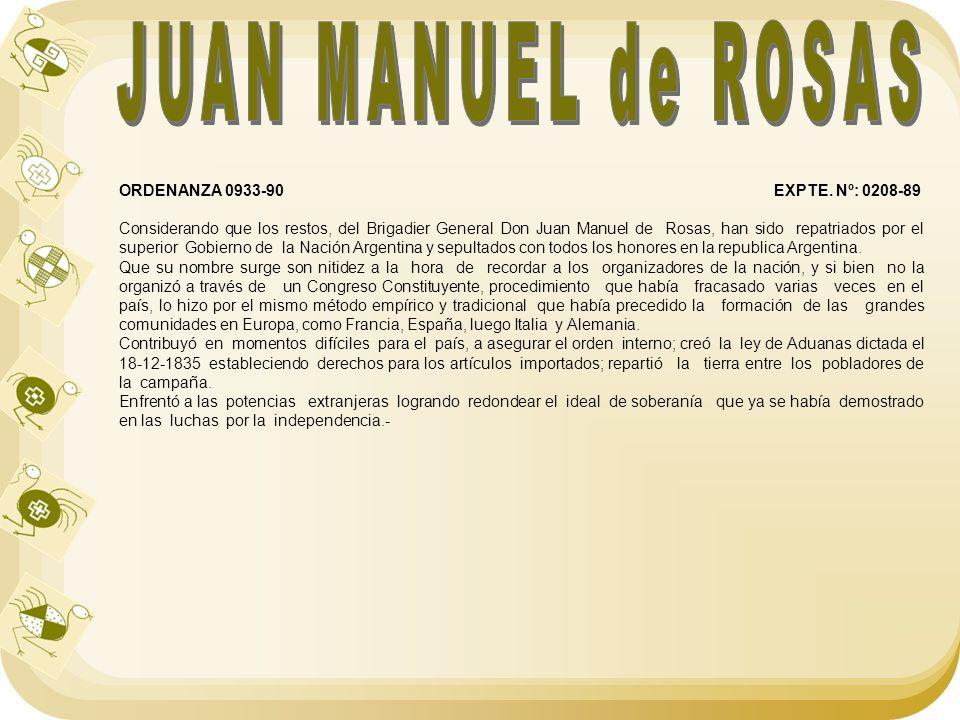 JUAN MANUEL de ROSAS ORDENANZA 0933-90 EXPTE. Nº: 0208-89