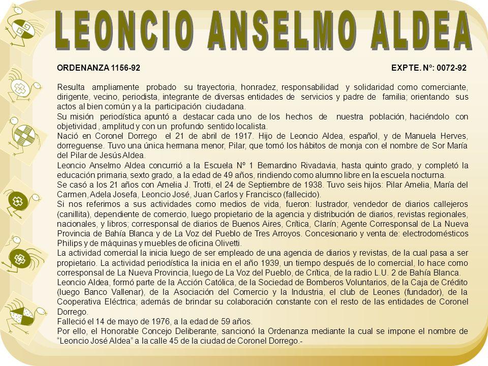 LEONCIO ANSELMO ALDEA ORDENANZA 1156-92 EXPTE. Nº: 0072-92