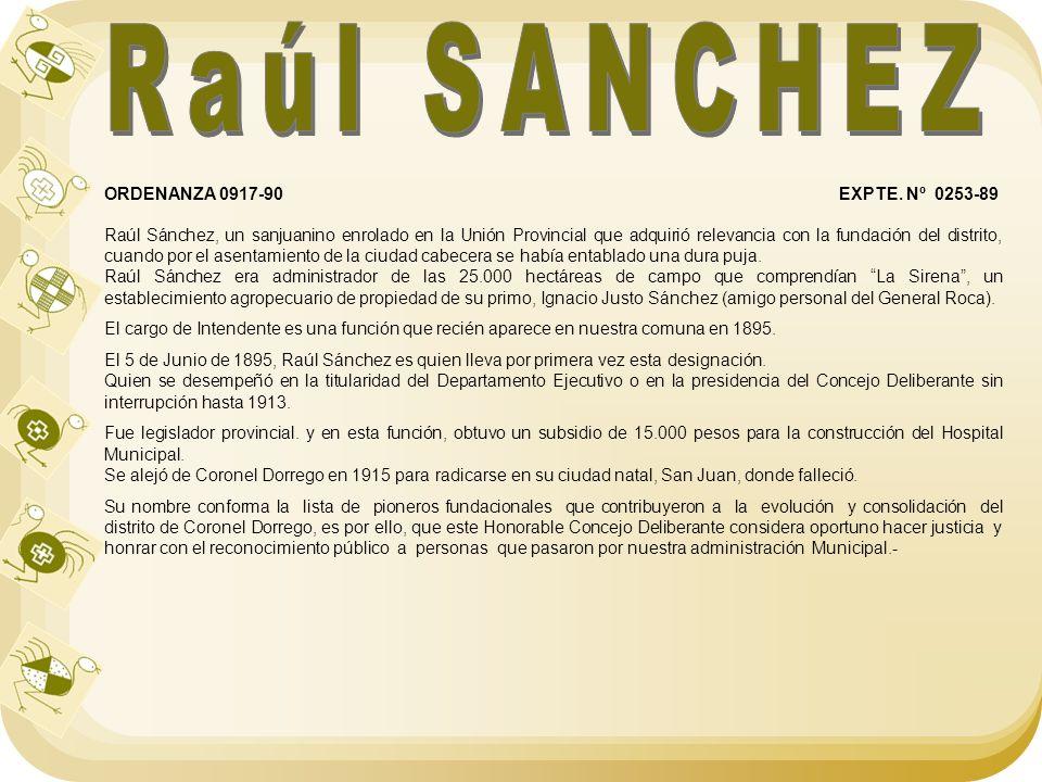 Raúl SANCHEZ ORDENANZA 0917-90 EXPTE. Nº 0253-89