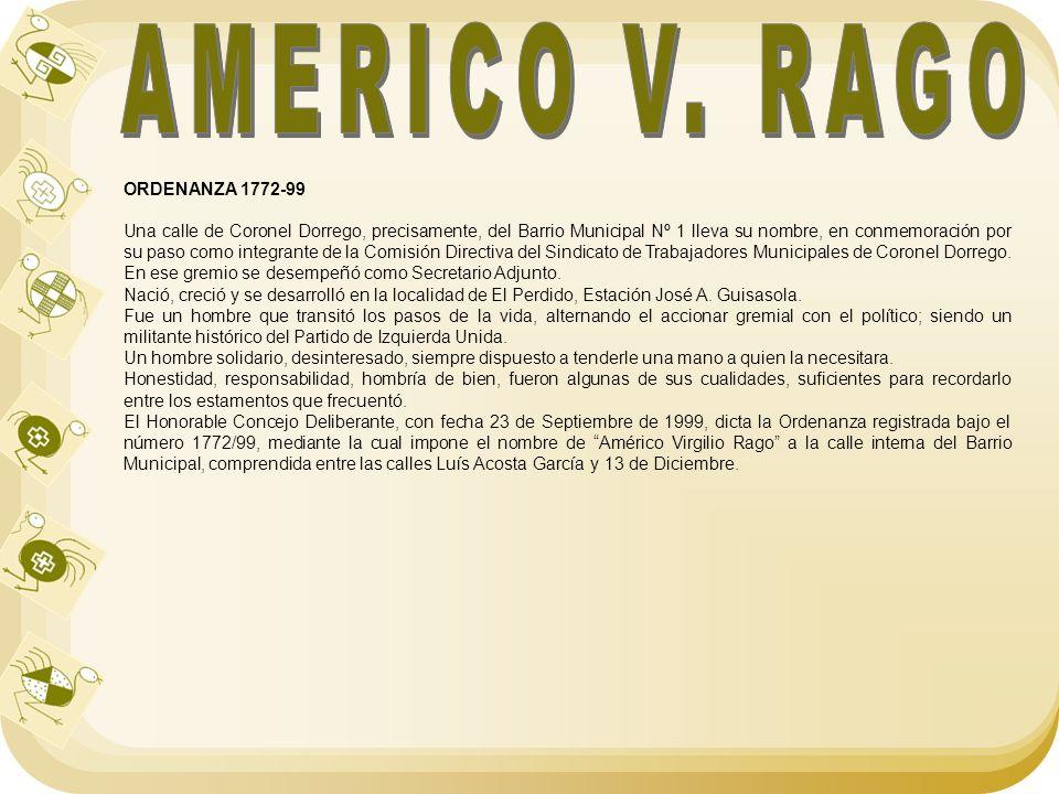 AMERICO V. RAGO ORDENANZA 1772-99