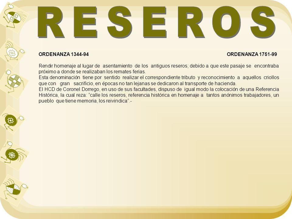 RESEROS ORDENANZA 1344-94 ORDENANZA 1751-99
