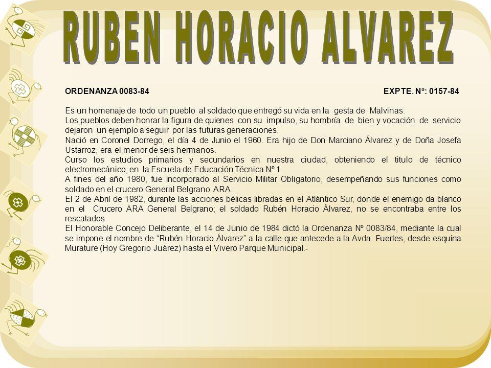 RUBEN HORACIO ALVAREZ ORDENANZA 0083-84 EXPTE. Nº: 0157-84