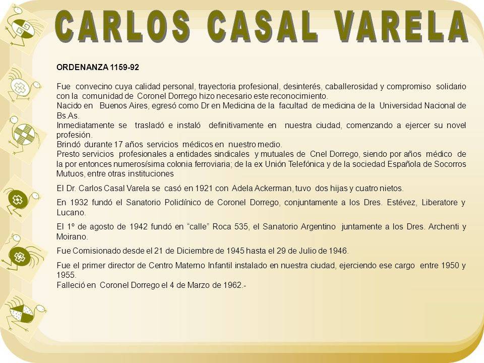 CARLOS CASAL VARELA ORDENANZA 1159-92