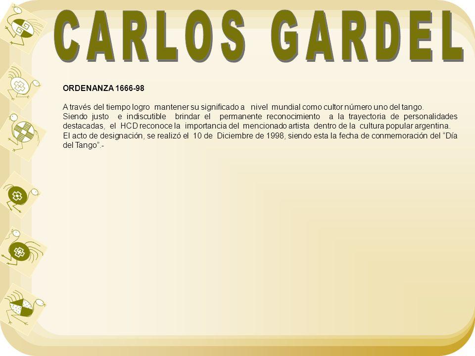 CARLOS GARDEL ORDENANZA 1666-98