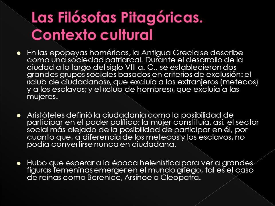 Las Filósofas Pitagóricas. Contexto cultural