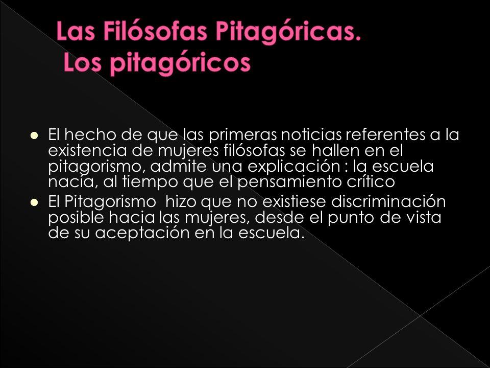 Las Filósofas Pitagóricas. Los pitagóricos