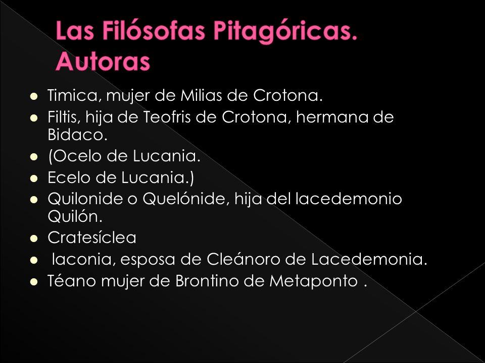 Las Filósofas Pitagóricas. Autoras
