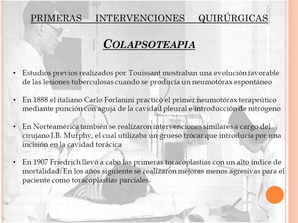 primeras intervenciones quirúrgicas Colapsoteapia