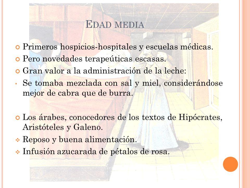 Edad media Primeros hospicios-hospitales y escuelas médicas.