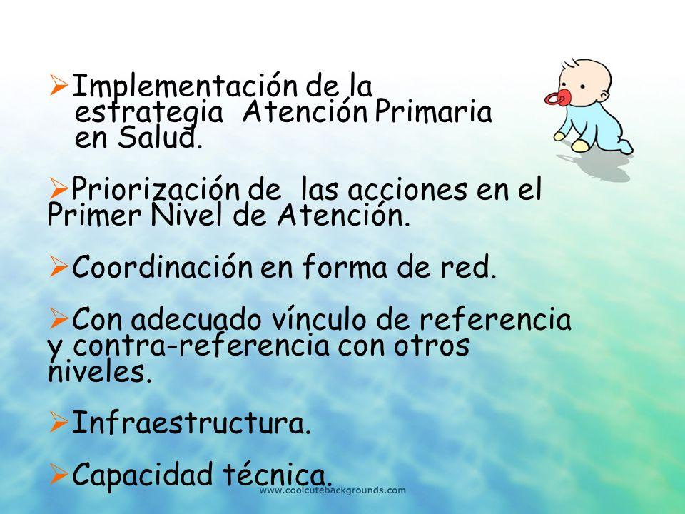 Implementación de la estrategia Atención Primaria. en Salud. Priorización de las acciones en el Primer Nivel de Atención.