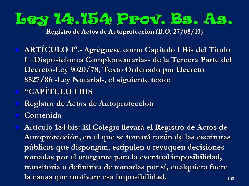 Ley 14. 154 Prov. Bs. As. Registro de Actos de Autoprotección (B. O