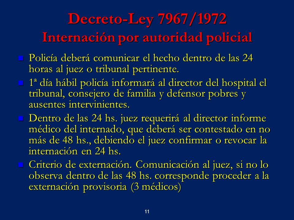 Decreto-Ley 7967/1972 Internación por autoridad policial