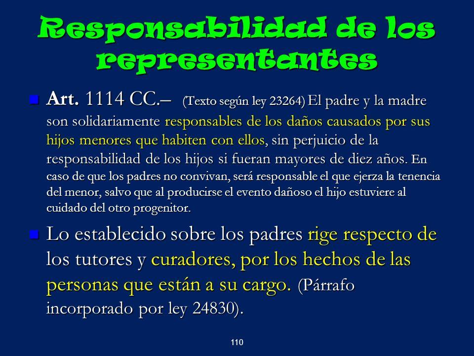 Responsabilidad de los representantes