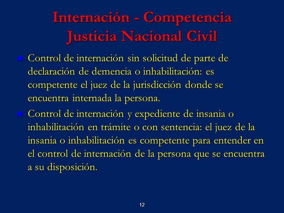Internación - Competencia Justicia Nacional Civil