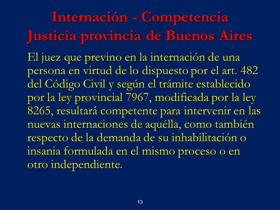 Internación - Competencia Justicia provincia de Buenos Aires
