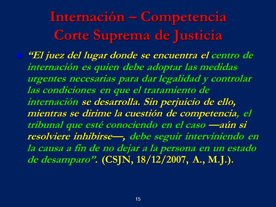Internación – Competencia Corte Suprema de Justicia