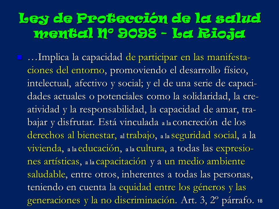 Ley de Protección de la salud mental Nº 9098 - La Rioja