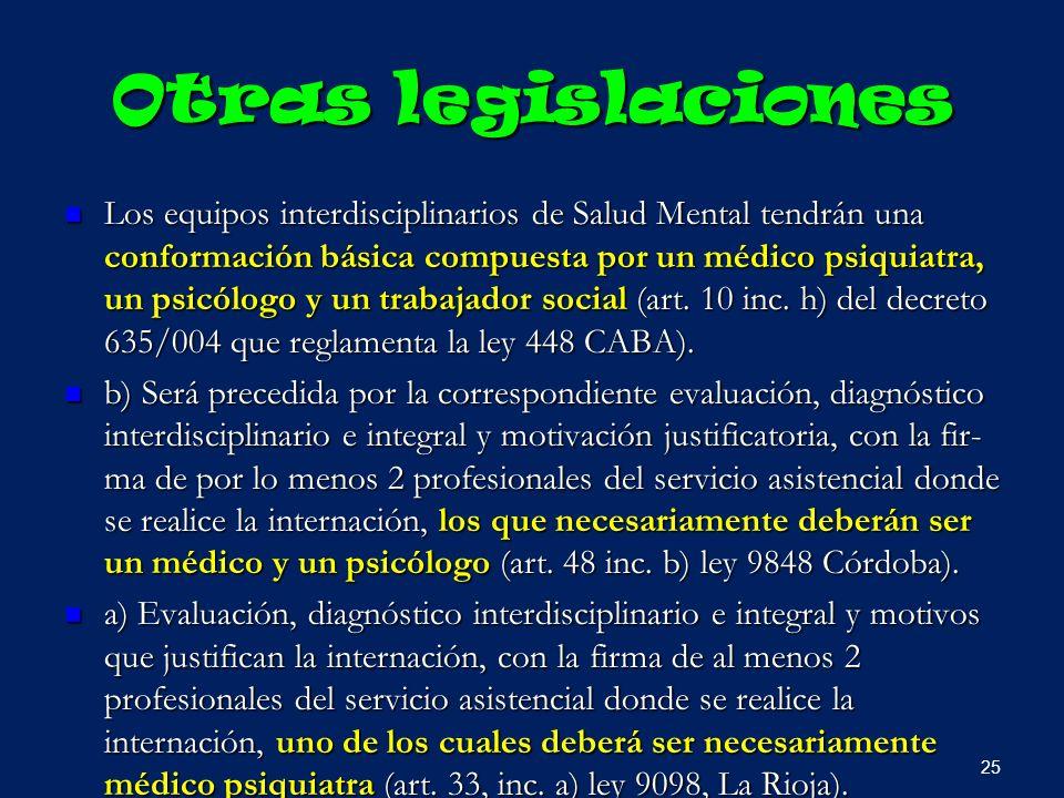Otras legislaciones