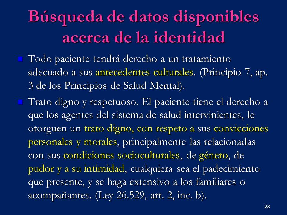Búsqueda de datos disponibles acerca de la identidad