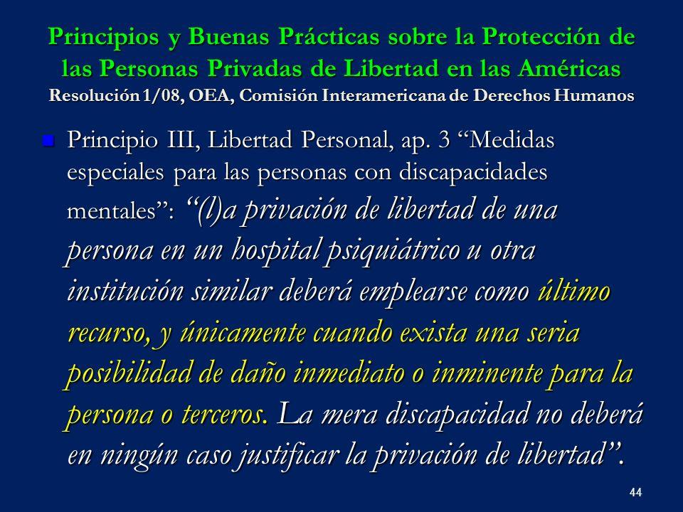 Principios y Buenas Prácticas sobre la Protección de las Personas Privadas de Libertad en las Américas Resolución 1/08, OEA, Comisión Interamericana de Derechos Humanos