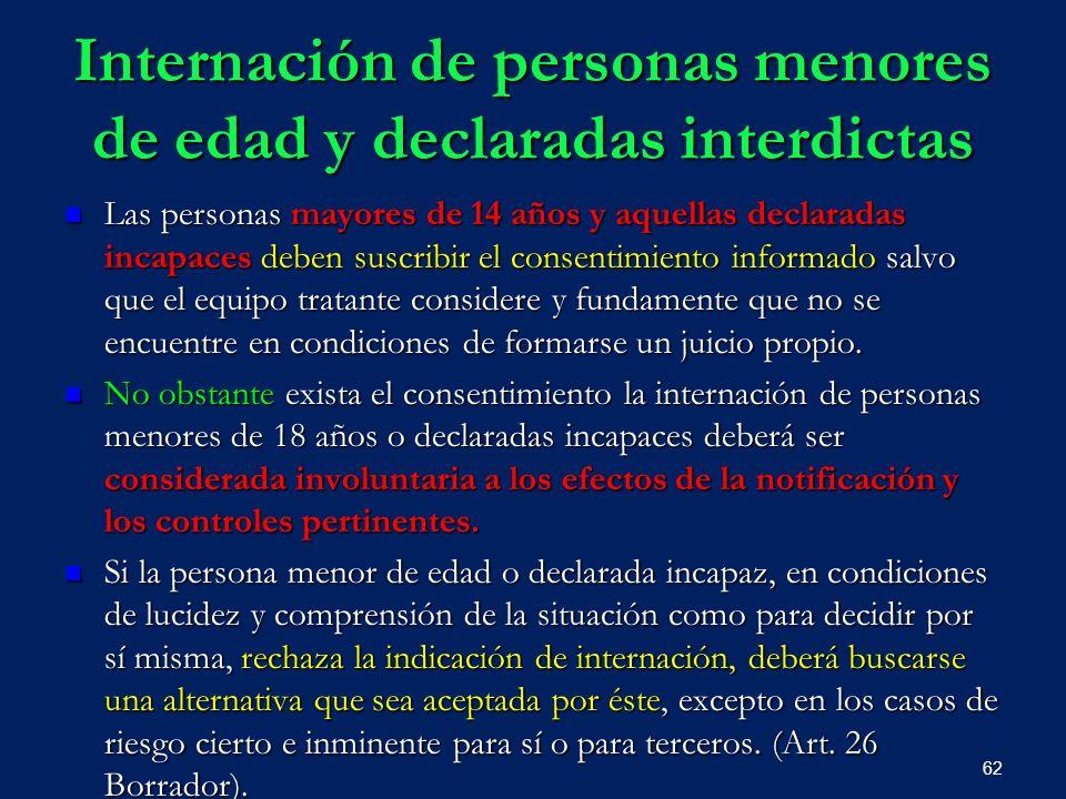 Internación de personas menores de edad y declaradas interdictas