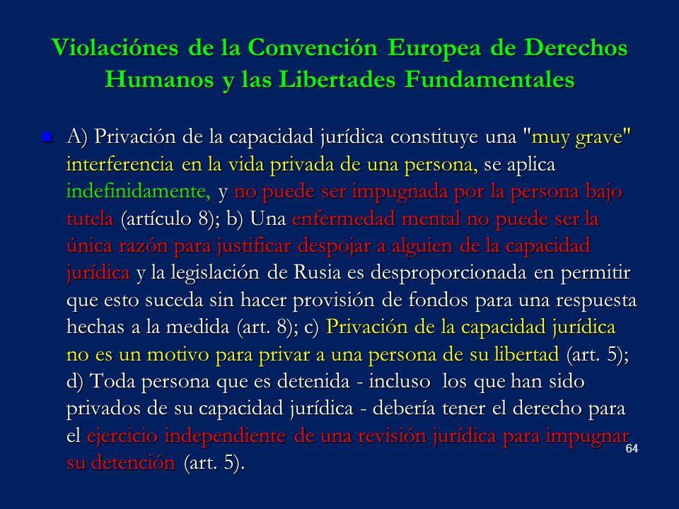 Violaciónes de la Convención Europea de Derechos Humanos y las Libertades Fundamentales