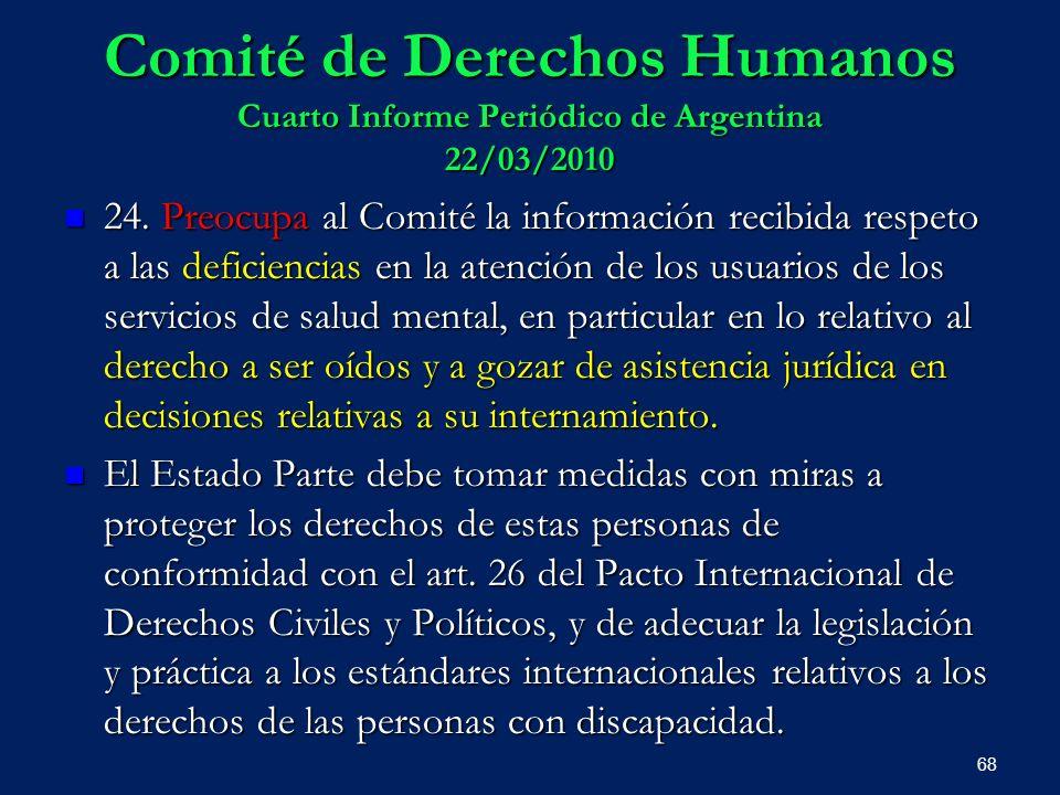 Comité de Derechos Humanos Cuarto Informe Periódico de Argentina 22/03/2010