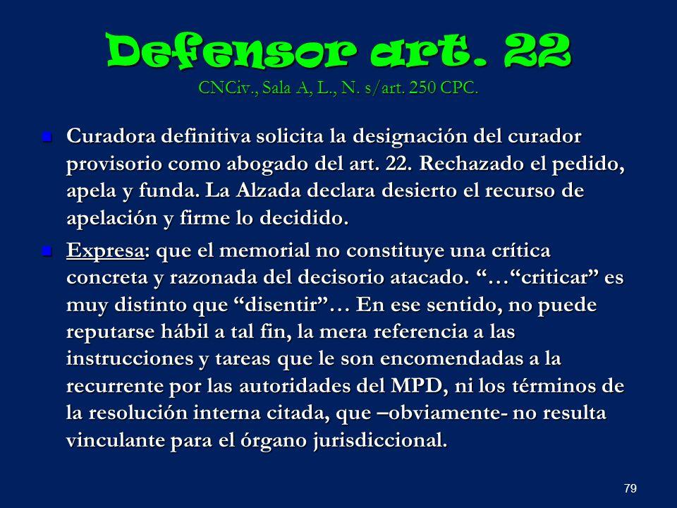 Defensor art. 22 CNCiv., Sala A, L., N. s/art. 250 CPC.
