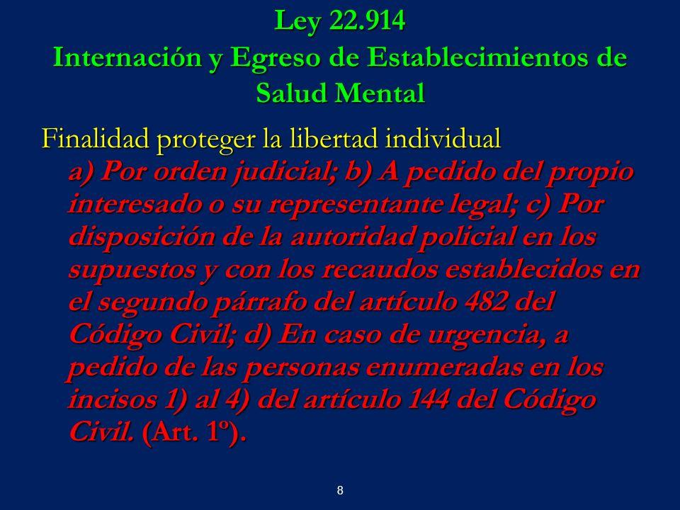 Ley 22.914 Internación y Egreso de Establecimientos de Salud Mental