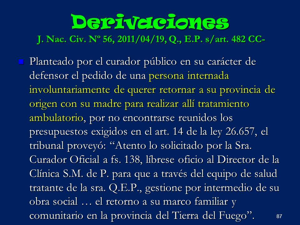 Derivaciones J. Nac. Civ. Nº 56, 2011/04/19, Q., E.P. s/art. 482 CC-