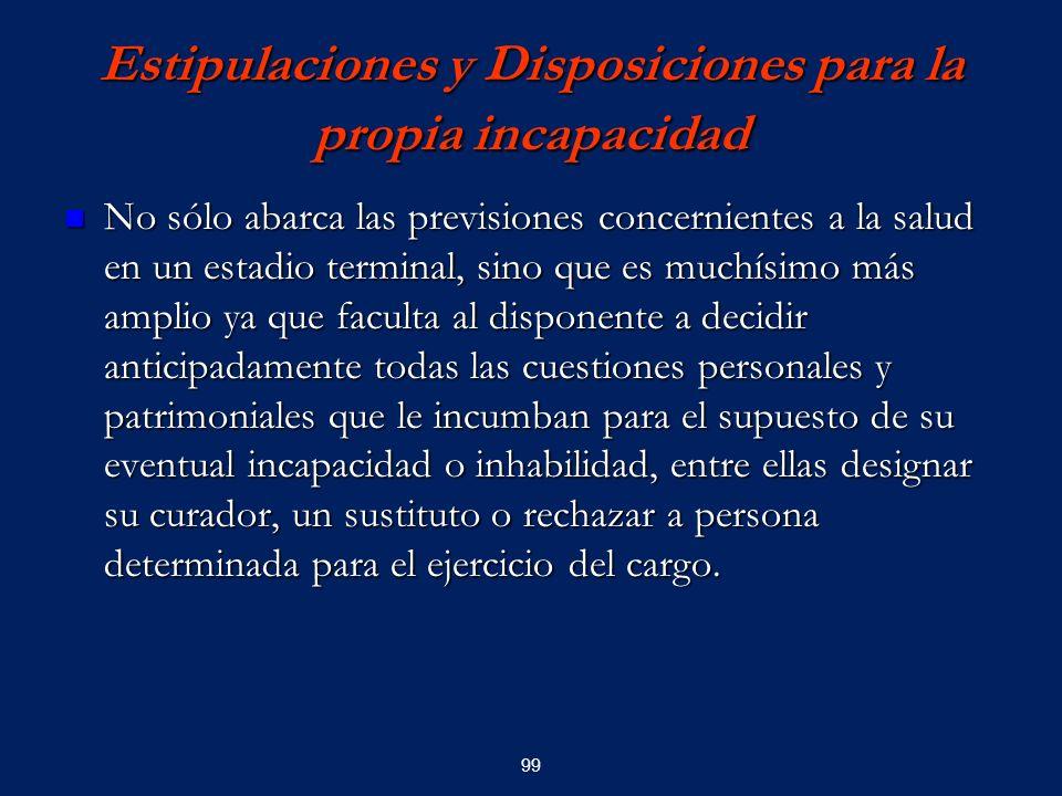 Estipulaciones y Disposiciones para la propia incapacidad