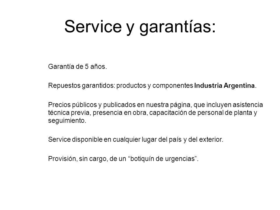 Service y garantías: Garantía de 5 años.