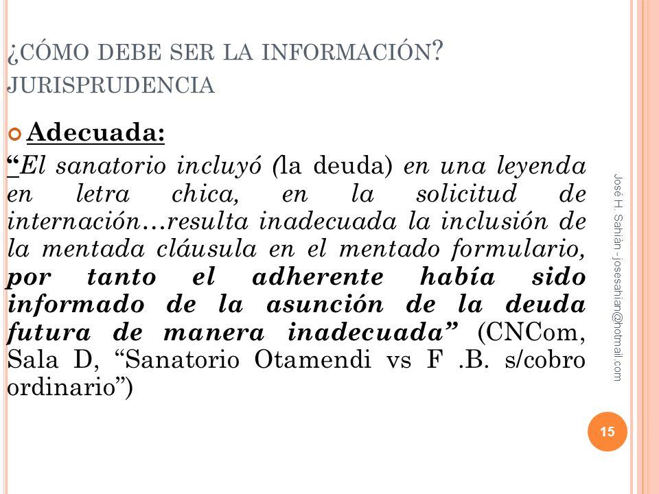 ¿cómo debe ser la información jurisprudencia