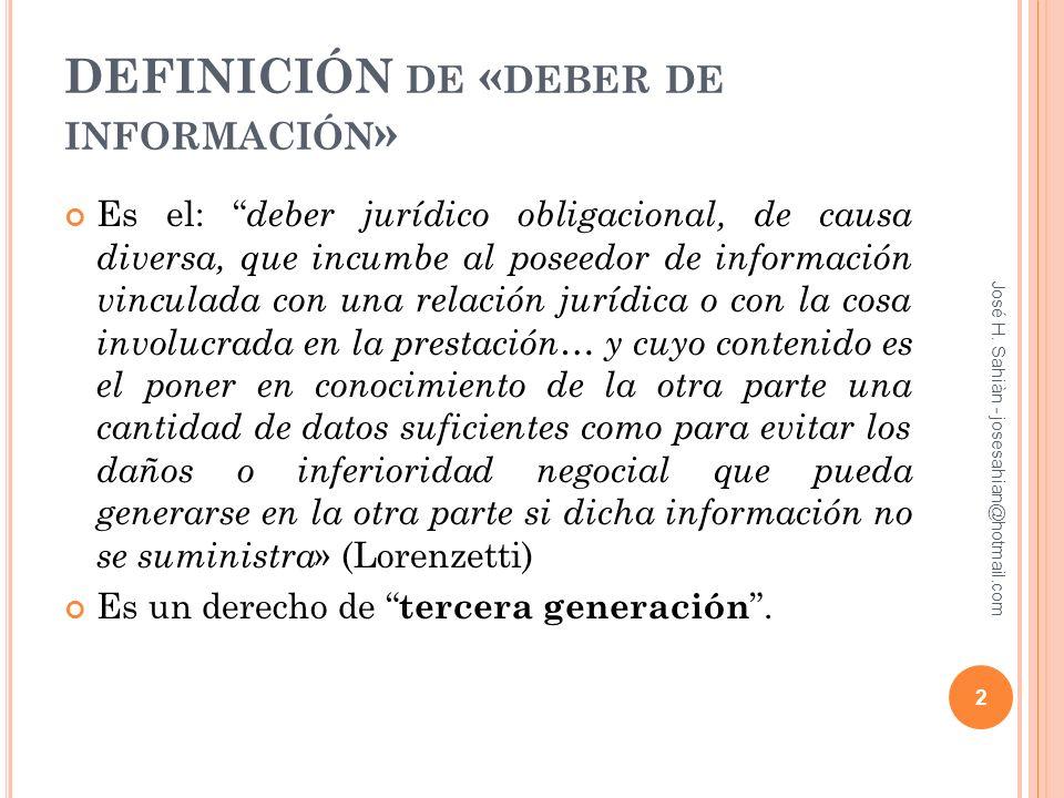 DEFINICIÓN de «deber de información»