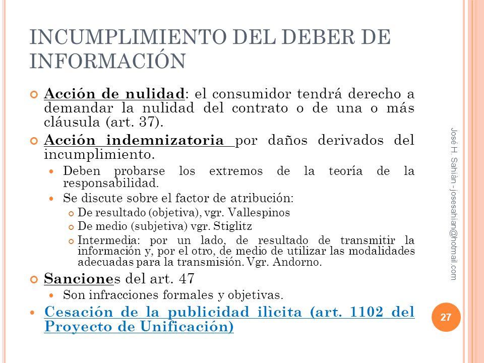 INCUMPLIMIENTO DEL DEBER DE INFORMACIÓN