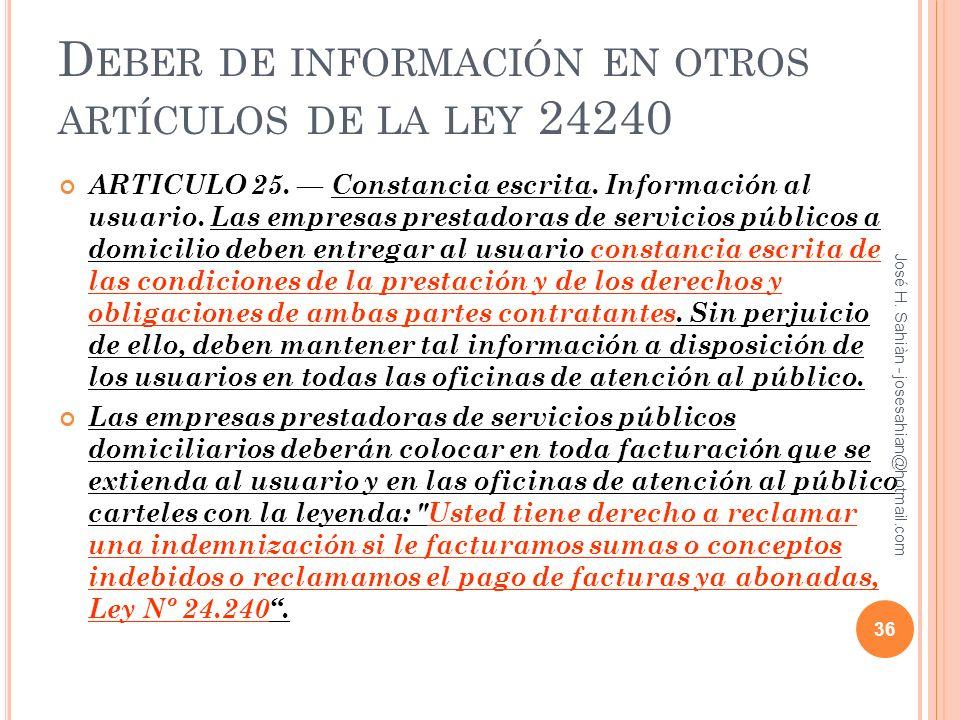 Deber de información en otros artículos de la ley 24240