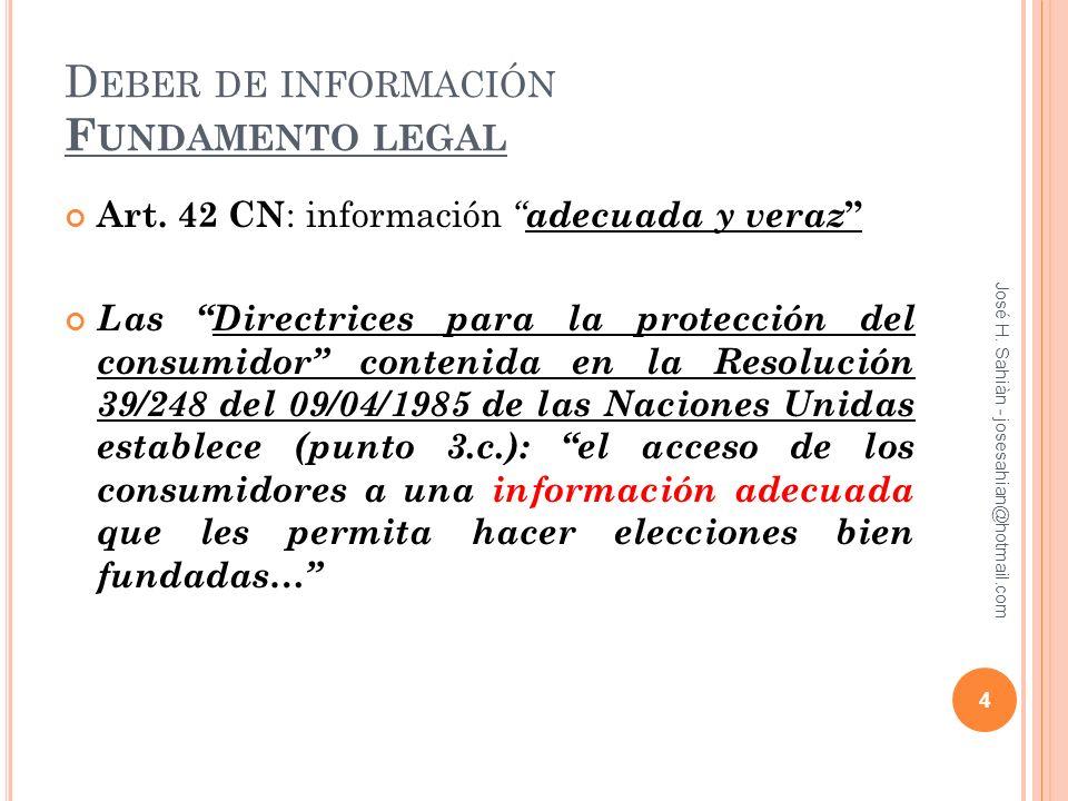 Deber de información Fundamento legal