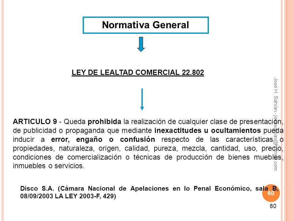 Normativa General LEY DE LEALTAD COMERCIAL 22.802