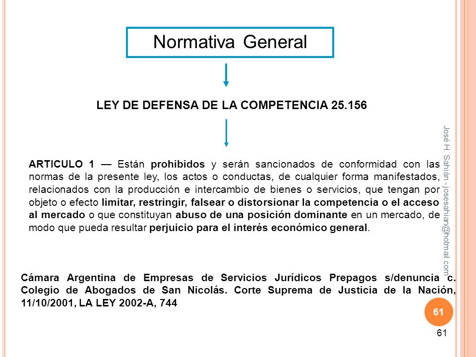 Normativa General LEY DE DEFENSA DE LA COMPETENCIA 25.156