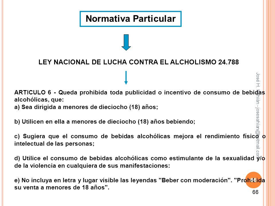 LEY NACIONAL DE LUCHA CONTRA EL ALCHOLISMO 24.788