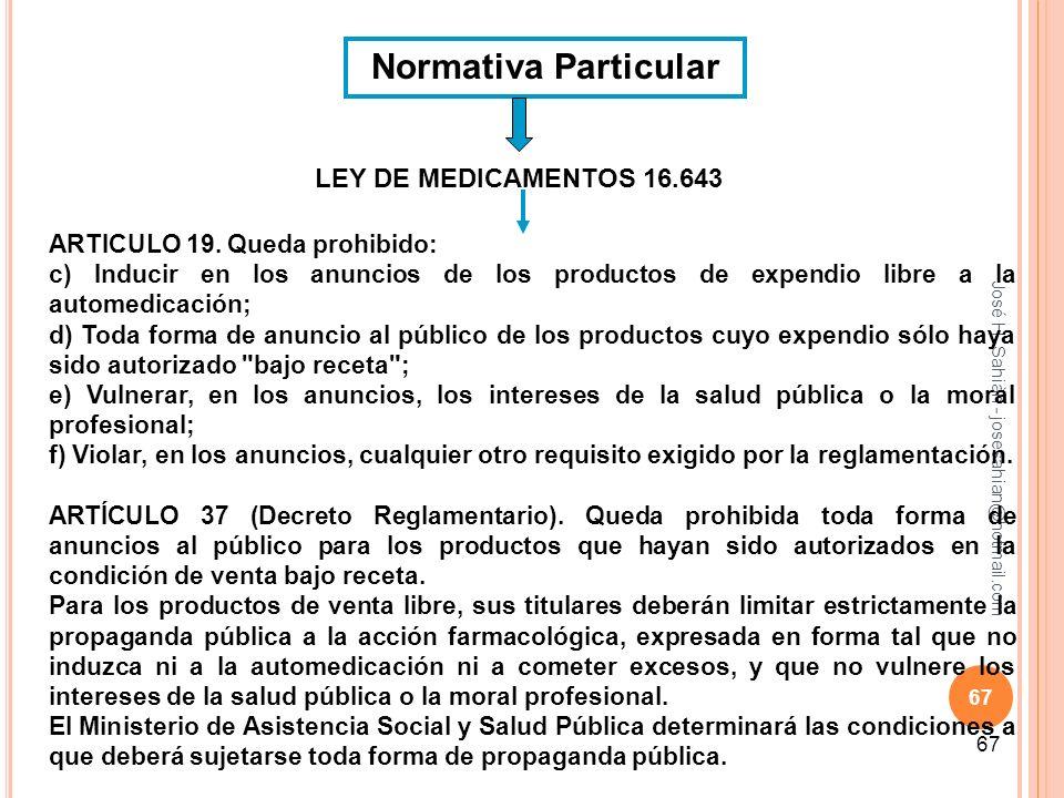 Normativa Particular LEY DE MEDICAMENTOS 16.643