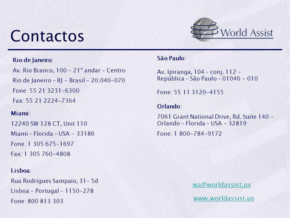 Contactos wa@worldassist.us www.worldassist.us São Paulo: